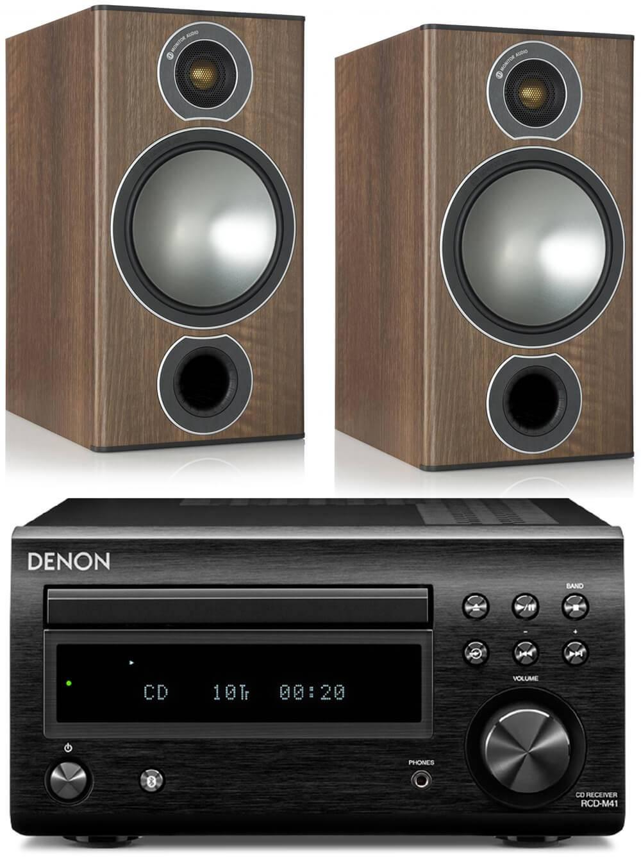 Denon DM41DAB Black inc Monitor Audio Bronze 2 Walnut