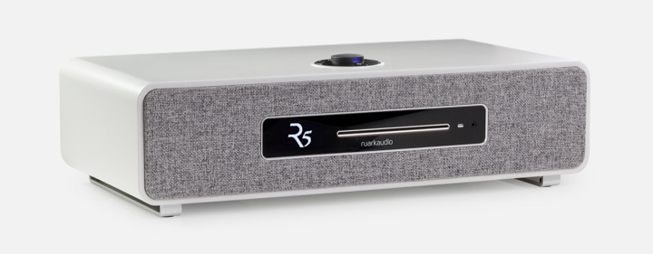 Ruark R5 Soft Grey Lacquer with Camira Lead Grey Grille Fabric